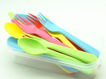 Several plastic cutlery Stock Photo