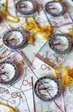 Several plastic transparent compasses. With ruler for orienteering or rogaining sport on color topographical map background. Compass shows north direction Stock Image