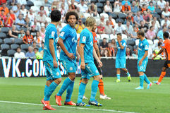 Several players of Zenit on the field Royalty Free Stock Images