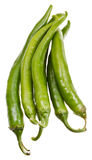 Several pods of green hot peppers Royalty Free Stock Image