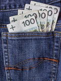 Several Polish banknotes jeans pocket Royalty Free Stock Photos