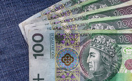 Several Polish banknotes spread blue jeans Royalty Free Stock Image
