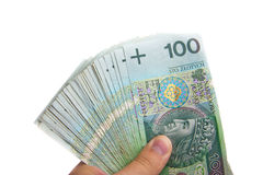 Several polish one hundred banknotes Royalty Free Stock Image
