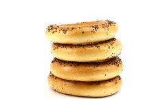 Several poppy bagels stacked Royalty Free Stock Photo