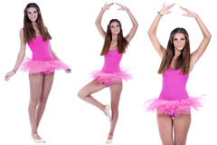Several poses of a young ballerina Stock Photos