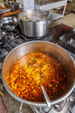 Several pots cooking on hotplate Royalty Free Stock Images