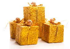 Several present boxes in pile Royalty Free Stock Photo