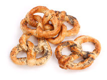 Several Pretzels With Poppy Seeds Stock Photos