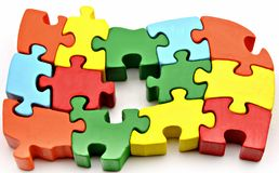 Several puzzle pieces Stock Photo