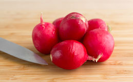 Several radishes on a cutting board with a knife. A group of radishes on a wood cutting board with a knife illuminated with window light Royalty Free Stock Image
