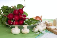 Several radishes just harvested from garden. Horizontal photo of several radishes bundled by cord on plate with baby spinach leaves. Other vegetable is placed Royalty Free Stock Photo