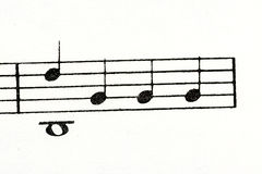 Several random music notes that are printed Stock Photography