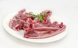 Several raw lamb chops. On white background Stock Photo