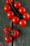 Several red cherry tomatoes on branch placed on green table Stock Photography