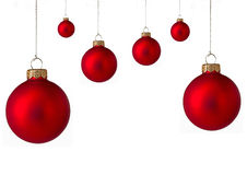 Several red Christmas baubles Stock Photo