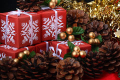 Several red gift boxes among pine tree fir cones Royalty Free Stock Photography