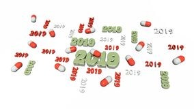 Several Red and White Pill 2019 Designs with Some Pills Royalty Free Stock Images