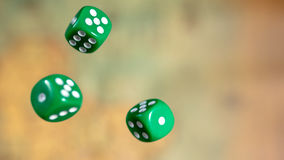 Several rolling green dice fall on a table with boardgame. Gameplay moments Stock Image