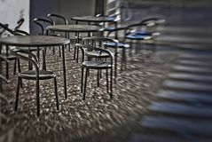 Several round tables Stock Image