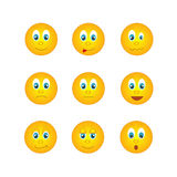 The several round yellow emoticons with different emotions Royalty Free Stock Photography