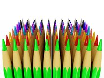 Several rows of colored pencils Royalty Free Stock Photo