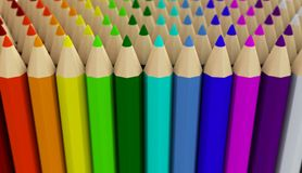 Several rows of colored pencils isolated on white background Royalty Free Stock Photo