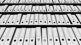 Several rows of empty office binders. 3D rendering Royalty Free Stock Photo
