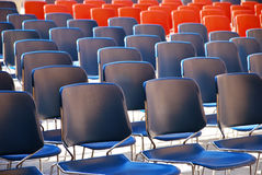 Several rows of plastic chairs Royalty Free Stock Photos