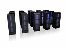Several rows of server racks Stock Photos