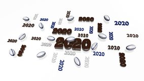 Several Rugby ball 2020 Designs with Some Balls. On a White Background stock illustration