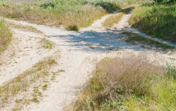 Several rural countryside dirty roads Royalty Free Stock Image