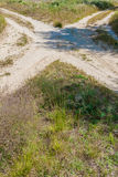 Several rural countryside dirty roads Stock Photo