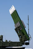 Several Russian combat missiles aimed at the sky. Stock Photos