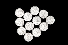 Several Russian ruble coins Stock Photography