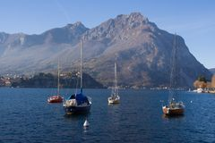 Several sailing yachts wintering in the lake Como Lecco, Italy Royalty Free Stock Image