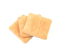 Several saltine soda crackers. Stock Photo