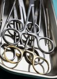 Several scissors for surgery in operating room of a hospital royalty free stock photography