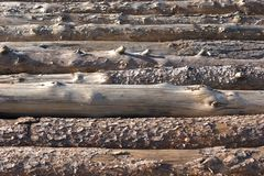Several scots pine logs stacked up, with various degrees of bark removal. A stack of several sun dried scots pine Pinus sylvestris tree logs, their bark removed Royalty Free Stock Image