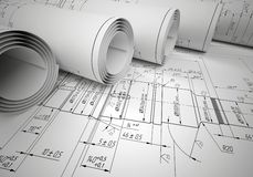 Several scrolls engineering drawings Stock Photos
