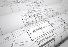 Several scrolls engineering drawings Royalty Free Stock Photo