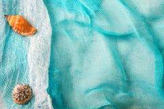 Seashells and starfish on cian cloth background royalty free stock photos