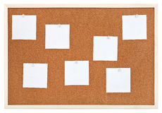 Several sheets of paper on bulletin cork board Royalty Free Stock Images
