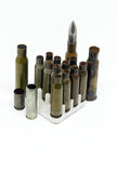 Several shell casings and bullet Royalty Free Stock Photography