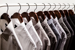 Several shirts on a hanger Royalty Free Stock Image