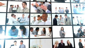 Several short clips showing business people flying into place Stock Images