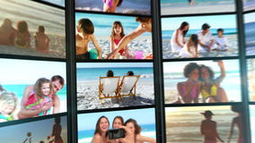 Several short clips showing people on the beach stock footage