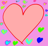 Several size and color of hearts Stock Images