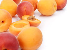 Several sliced apricots isolated on white Stock Image