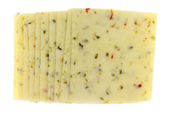 Several slices of pepper jack cheese top view Stock Images