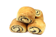 Several small buns with poppy seeds Stock Image